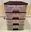 Комод міні настільний пластиковий 4 ящики, Україна, коричневий, фото 3