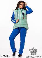 Спортивный женский костюм тройка электрик/мята большой размер
