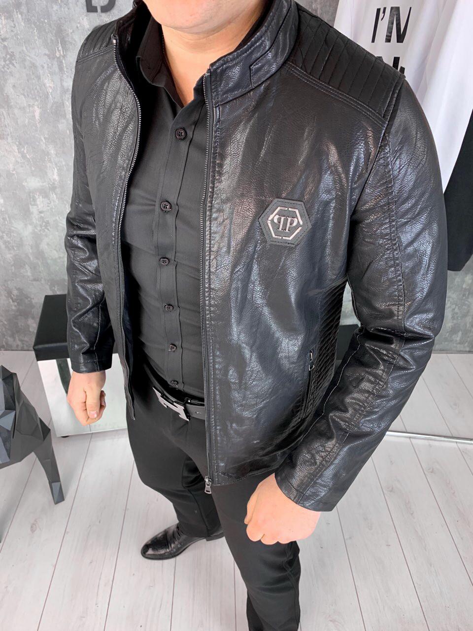 be02b6a4180a Мужская кожаная куртка Philipp plein asket ( Реплика ААА+) - купить ...