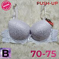 Лифчик пуш-ап  кружевной  женский бюстгальтер чашка (В) 70~75 на 2 крючка цвет белый й 6631