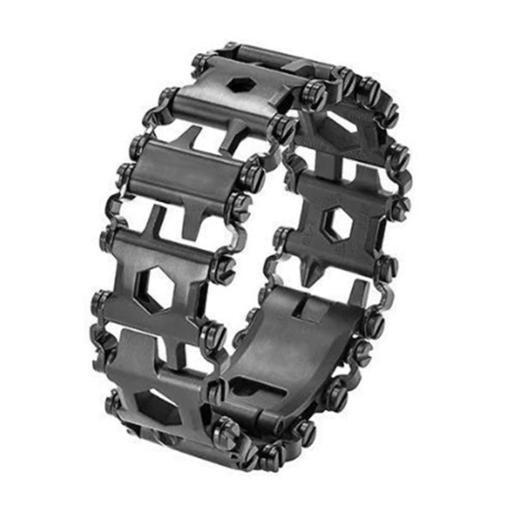 Браслет мужской металлический мультитул (реплика Leatherman Tread) Metric-Stainless черный