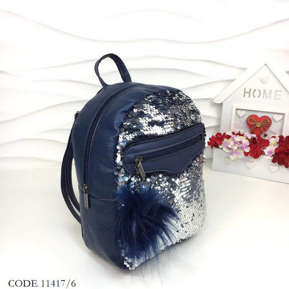 Рюкзак с пайетками синие -серебро 11417/6