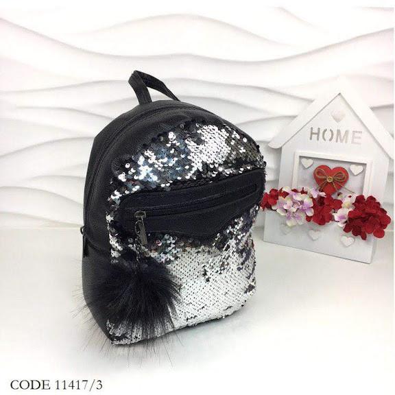 Рюкзак с пайетками черные-серебро 11417/3