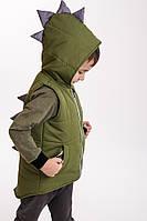 Утепленная детская жилетка для мальчика с капюшоном светлый хаки