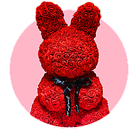 Зайка из роз. 45 см. Красный. Премиум качество.