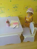 """Детский столик 2 """" Растишка Лаванда/Белый """""""