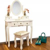Туалетный стол Bianka с зеркалом и табуретом