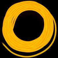 Холодный неон / электролюминисцетный провод 3-го поколения 5 мм, желтый (розница, опт)