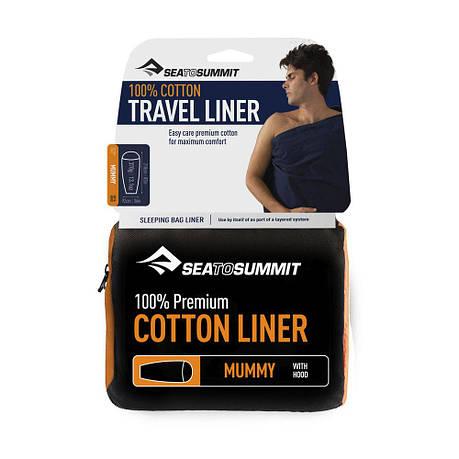 Вкладыш в спальник Sea To Summit Premium Cotton Liner Mummy Hood, фото 2