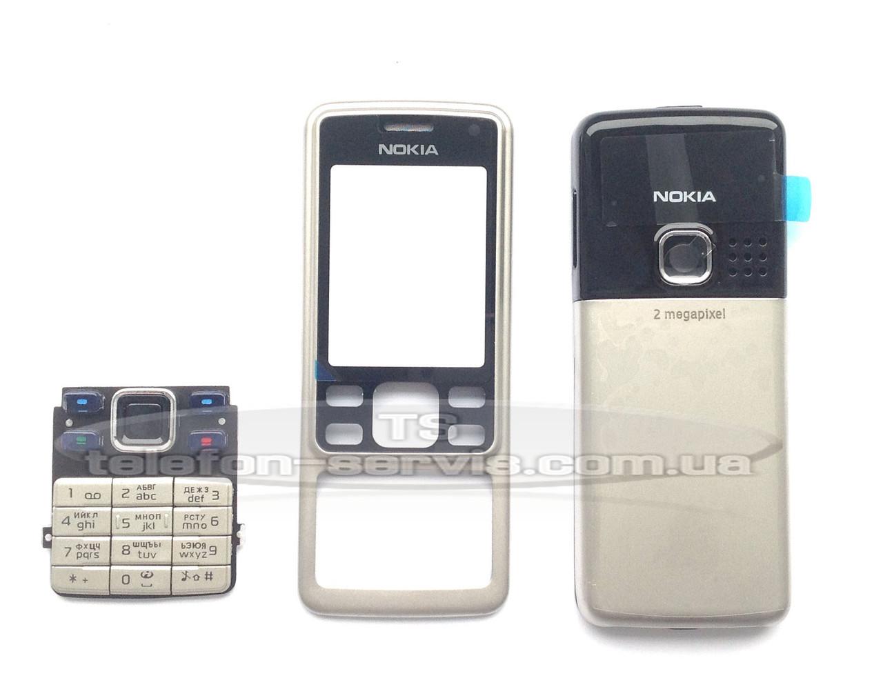 Корпус Nokia 6300, серебристый, копия ААА, с клавиатурой