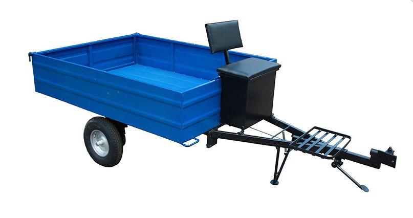 Прицеп 1215х1650 (гп 500 кг) с колёсами 4.00-8, самосвал, с ящиком и мягкой сидушкой