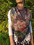10467-14, павлопосадский платок шерстяной (разреженная шерсть) с швом зиг-заг, фото 5