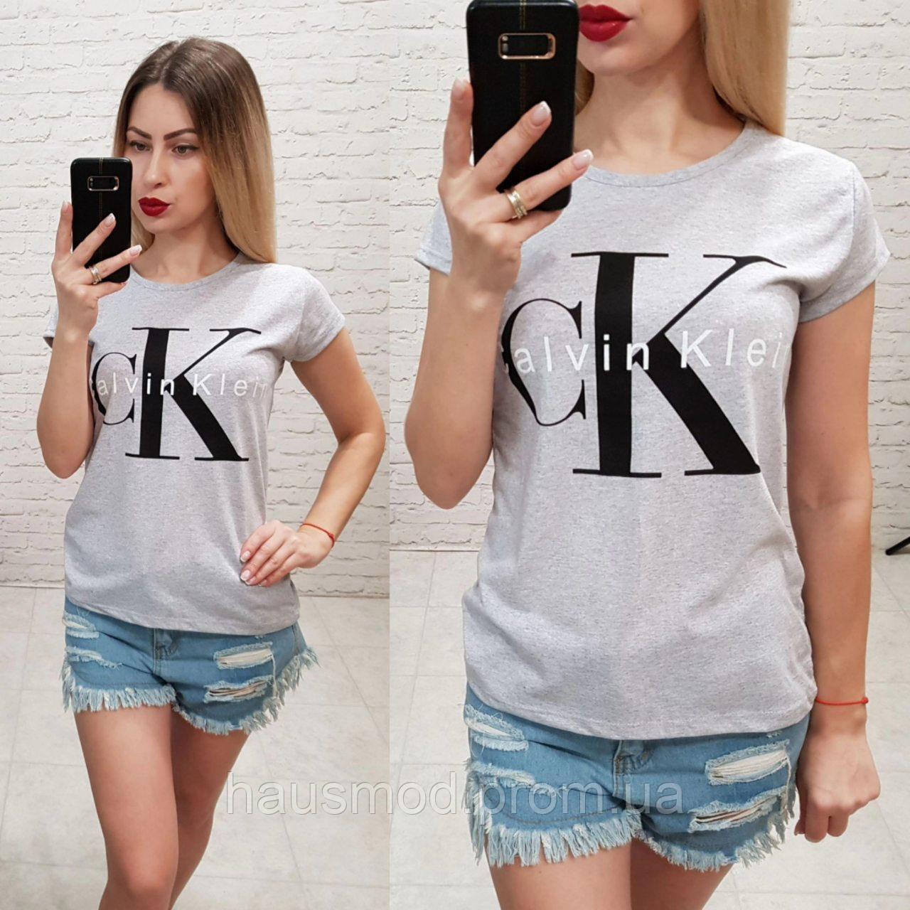 bc065fa6e4809 Женская стильная летняя футболка 100% катон реплика Calvin Klein Турция  серая -