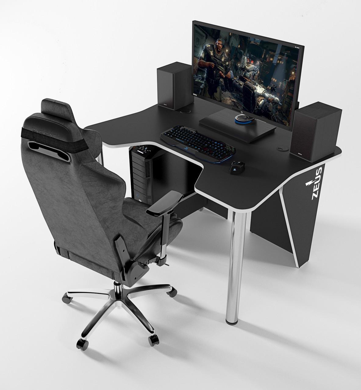 """Стол компьютерный """"IGROK-3L"""" 140х92х75 см. с LED подсветкой черный/белый"""