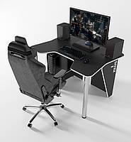 """Стол компьютерный """"IGROK-3L"""" 140х92х75 см. с LED подсветкой черный/белый, фото 1"""