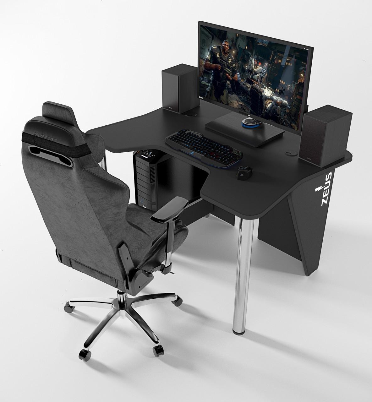 """Стол компьютерный """"IGROK-3L"""" 140х92х75 см. с LED подсветкой черный/черный"""