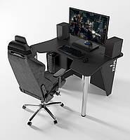 """Стол компьютерный """"IGROK-3L"""" 140х92х75 см. с LED подсветкой черный/черный, фото 1"""