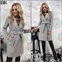 Стильное женское пальто кашемировое с поясом , фото 1
