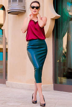 Женская юбка миди Софи, изумрудная