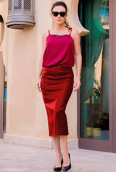 Красная облегающая юбка Софи, экокожа