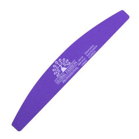 Пилочка для ногтей Global Fashion 150/150 Фиолетовая Корея (опт 12шт)