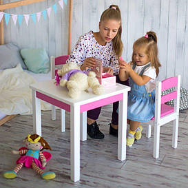 Детский стол + 2 стула Юниор розовый