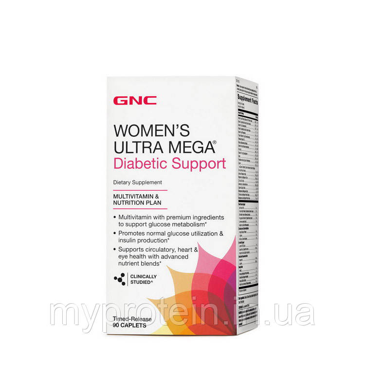 GNC Витамины и Минералы Women`s Ultra Mega Diabetic Support (90 caplets)