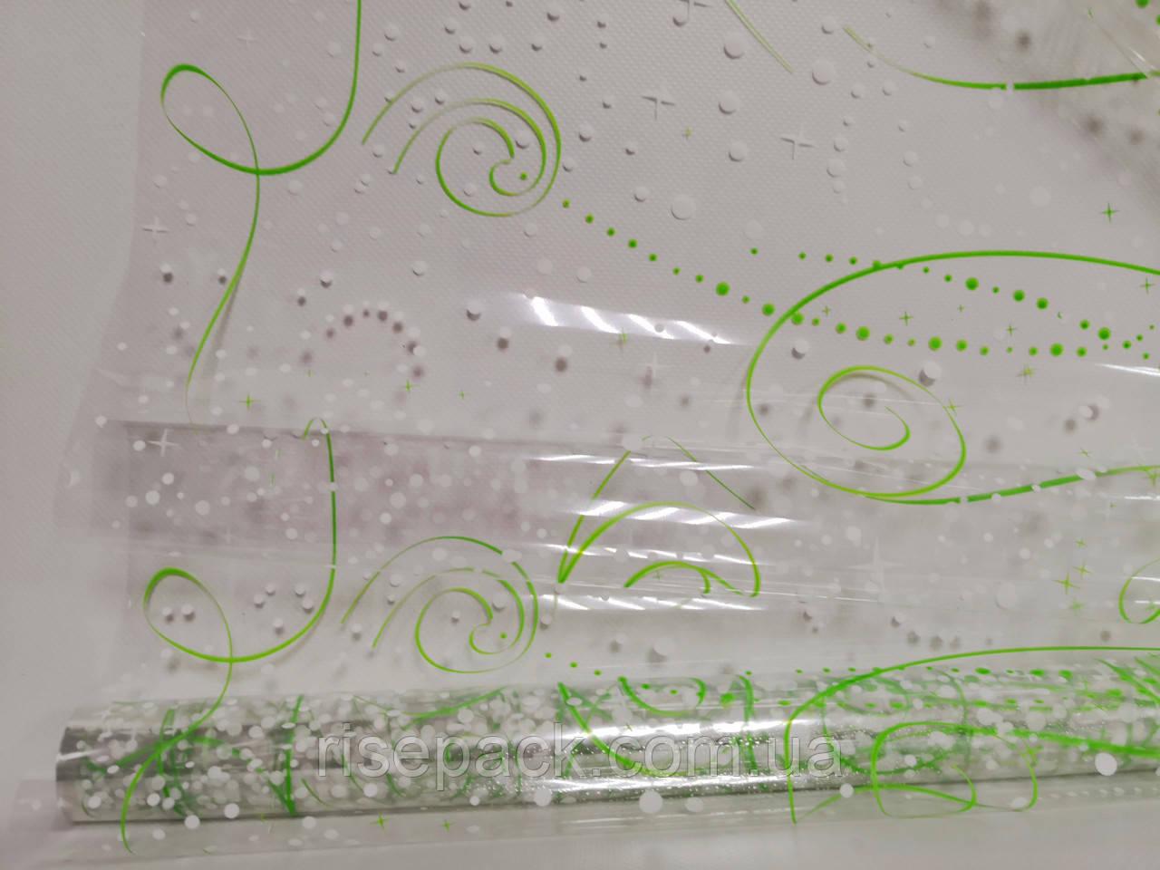 """Пленка для упаковки подарков """"вензеля"""" зеленый-белые рулон 0,6х20 м"""
