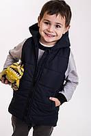Детская безрукавка для мальчика темно-синяя