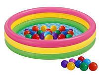 Детский надувной бассейн Intex 57412-1 «Радужный», 114 х 25 см, с шариками 10 шт.