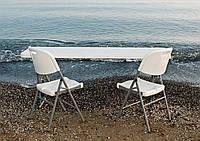 Комплект складаний пластикових меблів Стіл 18301+ 2 Стільця 5321 білий, фото 1