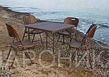 Комплект складной пластиковой мебели  Стол 8602 + 4 Стула 5330 ротанг коричневый
