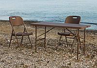 Комплект складаний пластикових меблів Стіл 12200 + 6 Стільців 5330 ротанг коричневий, фото 1