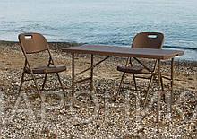 Комплект складной пластиковой мебели  Стол 12200 + 6 Стульев 5330 ротанг коричневый