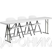 Комплект складной пластиковой мебели  Стол 18301+ 3 Стула 5321 белый