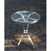 Стол алюминиевый со стеклянной столешницей диаметр 60 см ALT - 6060