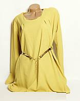 Женская блуза, туника с длинным рукавом батал, поясок подчеркивает талию, р. 54 код 3331М