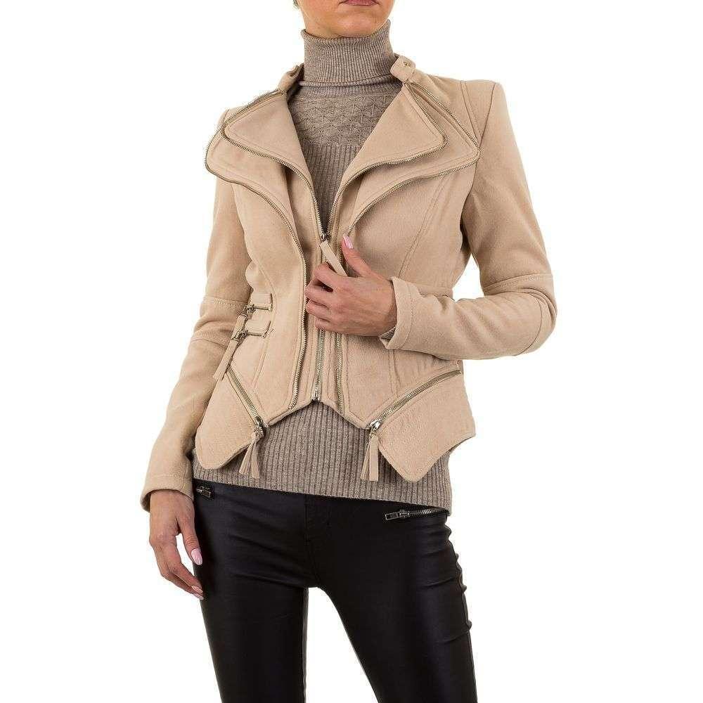 Куртка женская кожзам с молниями Noemi Kent (Франция), Бежевый