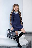 Школьный сарафан для девочки Классика с рюшами ворот кружево длинный рукав школьная форма рост:134-152 см