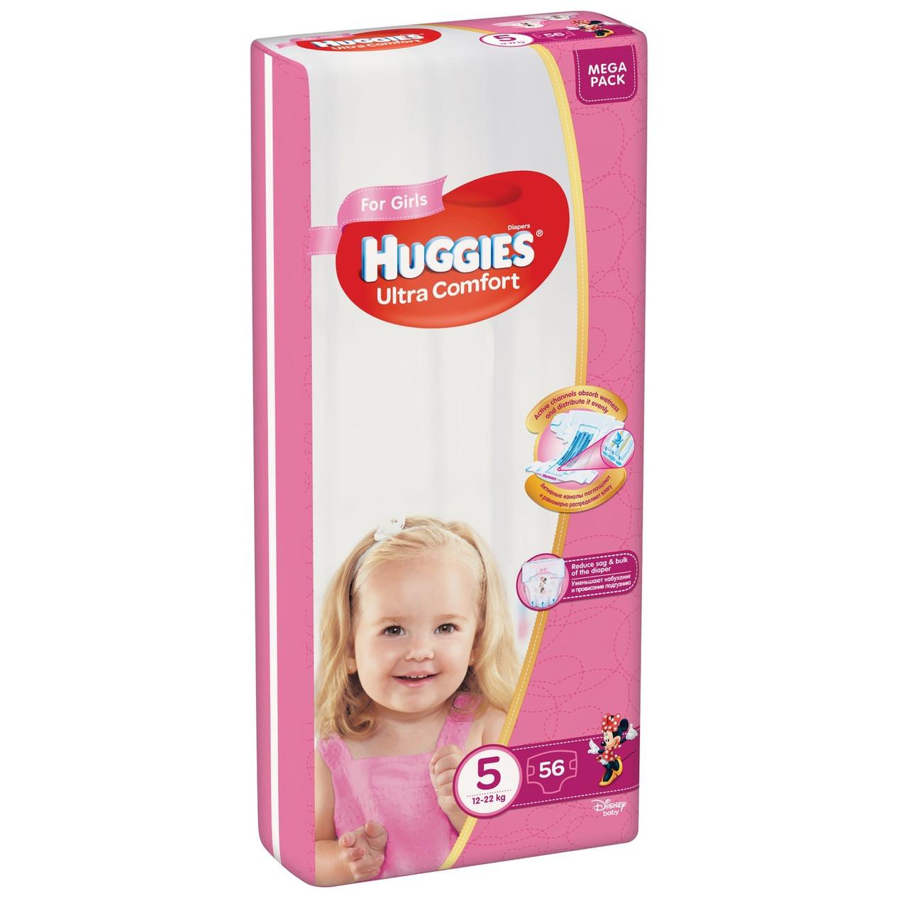 """Huggies Подгузники для девочек """"Ultra Comfort"""" 5 (12-22кг, 56 шт)"""