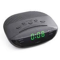 Часы с радио-будильником 908-4, питание 220v, с салатовым светодиодным дисплеем, 155*130*30 мм, fm/am