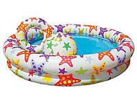 Детский надувной бассейн Intex 59460 «Звезды» 122 х 25 см, с надувным кругом и мячом, белый