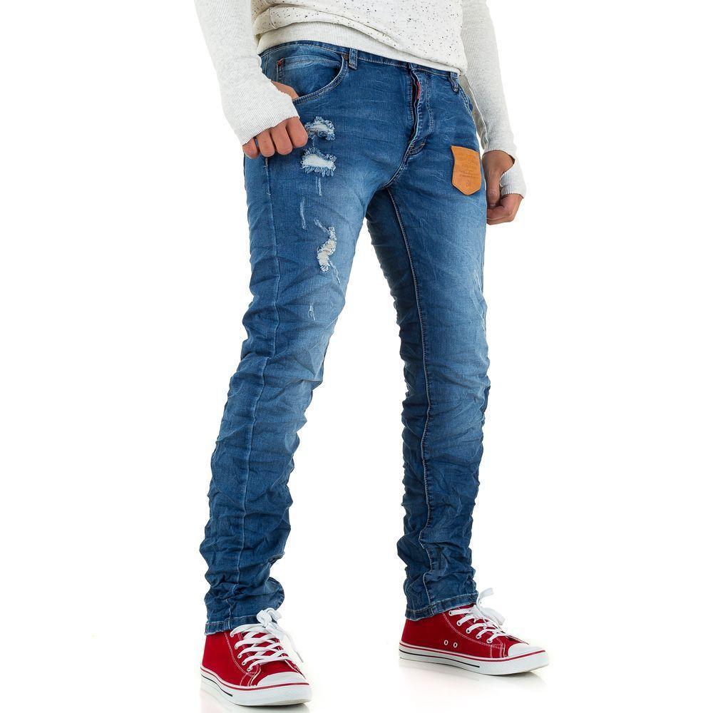 Мятые рваные джинсы мужские Wangue Jeans (Европа), Синий