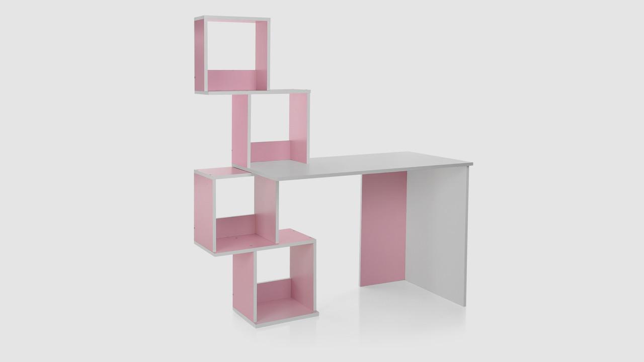 Парта с надстройкой из полок. Бело-розового цвета