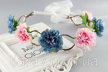 Венок на голову Веночек Алий голубой диадема для волос украшения свадебные
