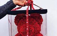 """Красный 3D мишка из роз """"Teddy Bear"""" 40 см + подарочная упаковка в подарок бесплатно."""