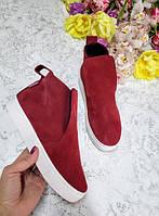 Слипоны ботинки для девочки подростка 32-41 размер бордовые, качественная обувь оптом от производителя