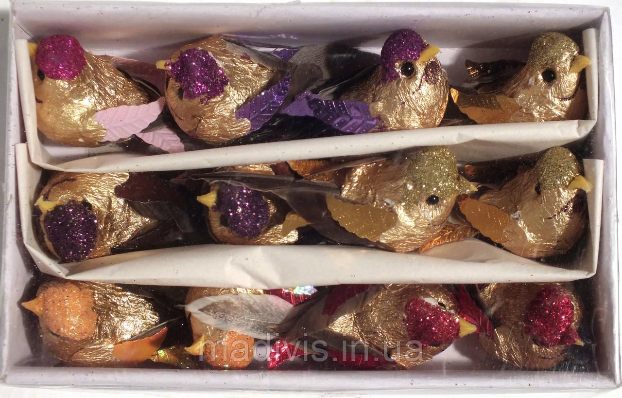 Птички на прищепке ЗОЛОТЫЕ №14. ( 10 см., НАБОР - 12 штук)