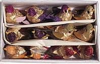 Птички на прищепке ЗОЛОТЫЕ №14. ( 10 см., НАБОР - 12 штук), фото 1