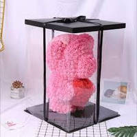 """Розовый 3D мишка из роз """"Teddy Bear"""" 25 см + подарочная упаковка в подарок бесплатно."""